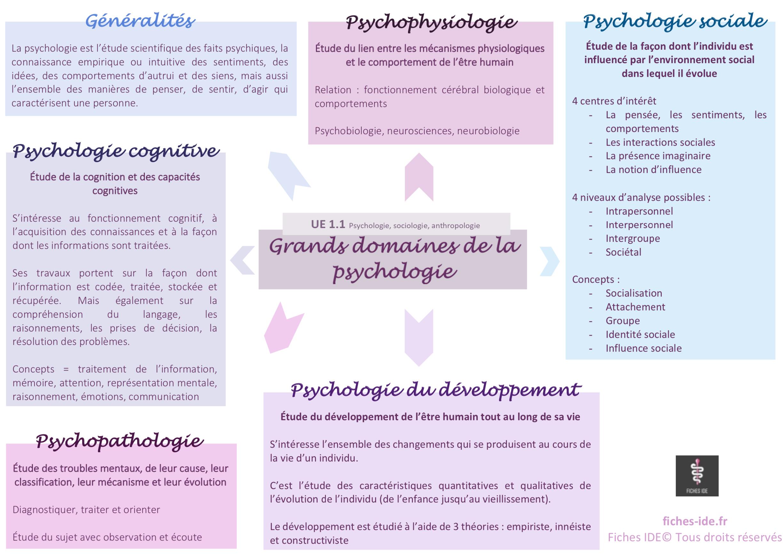 grands domaines de la psychologie